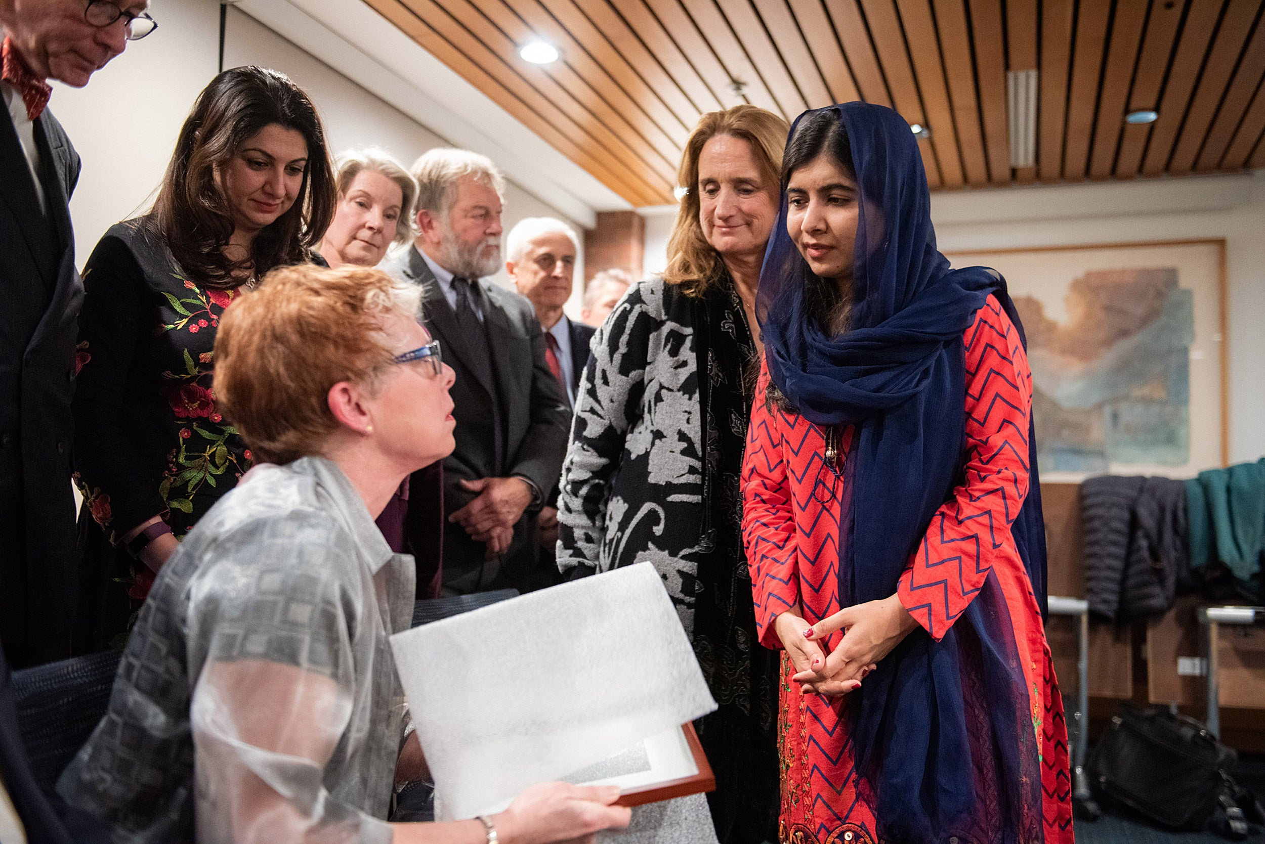 Malala Yousafzai meets with Harvard-Radcliffe alumni from the class of 1973.