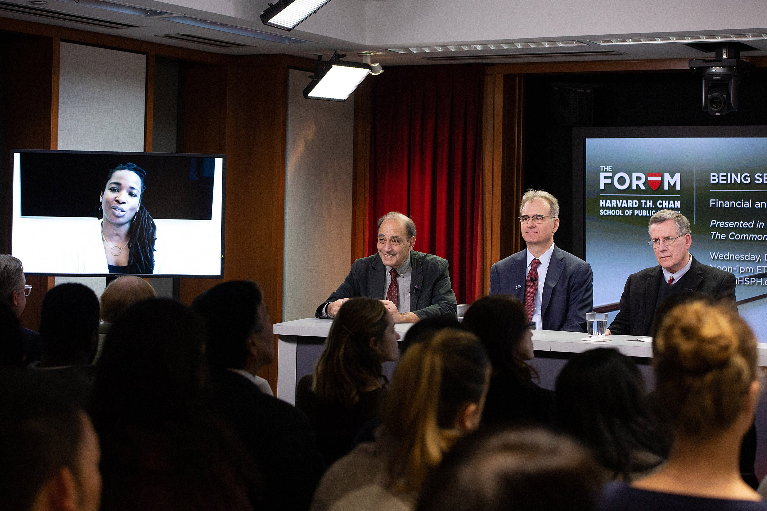 Harvard Chan School forum on Seriously Ill in America: Panelists Toyin Ajayi, Robert Master, Eric Schneider, Robert Blendon.
