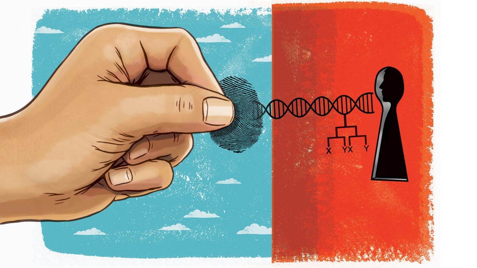 Hand unlocking genetic data.