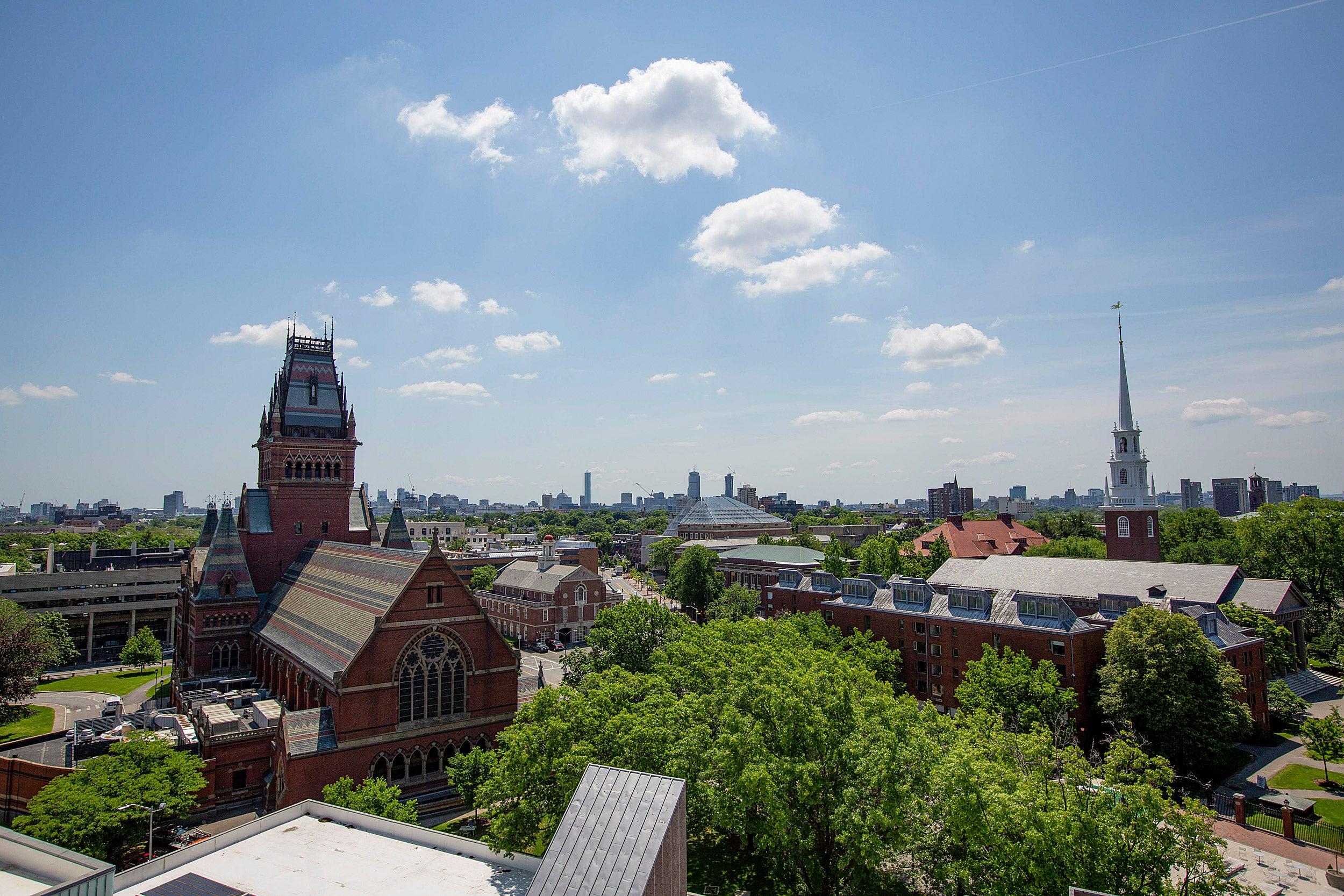 Overhead view of Harvard campus.
