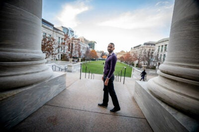 Calixto Saenz on the steps of Harvard Medical School