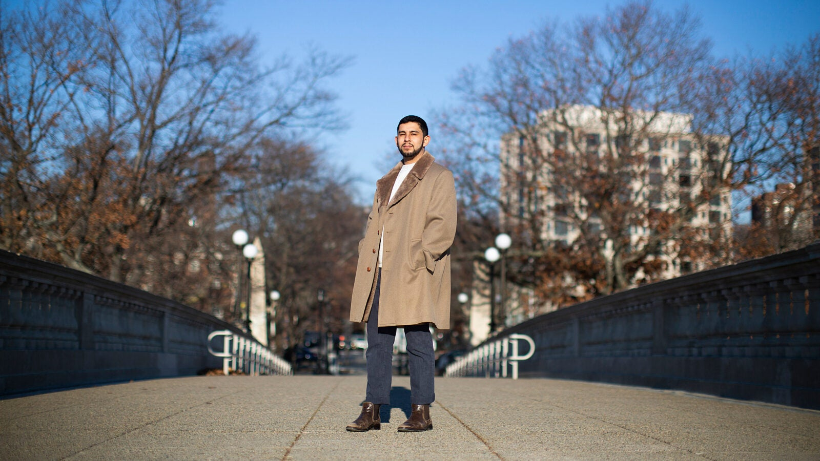 Ruben Reyes stands on the Weeks Bridge.