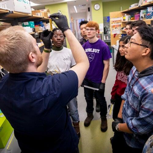 David Thompson, Wyss Institute Technology Development Fellow, teaches synthetic biology.  Rose Lincoln/Harvard Staff Photographer