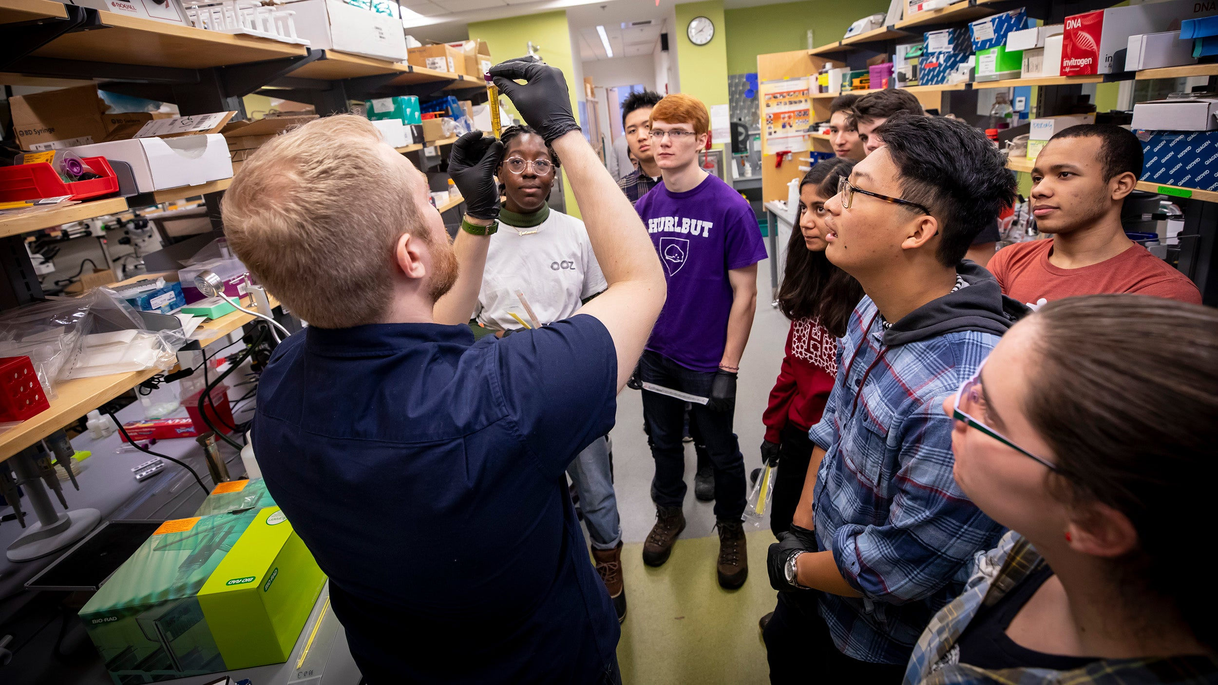 David Thompson, Wyss Institute Technology Development Fellow, teaches synthetic biology.  Rose Lincoln/Harvard Staff Photographer