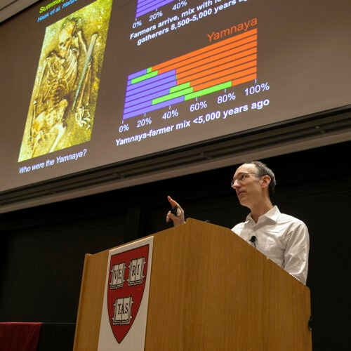 David Reich talks about the deep history of people in Europe and Southeast Asia relating to ancient DNA, at the Science Center.