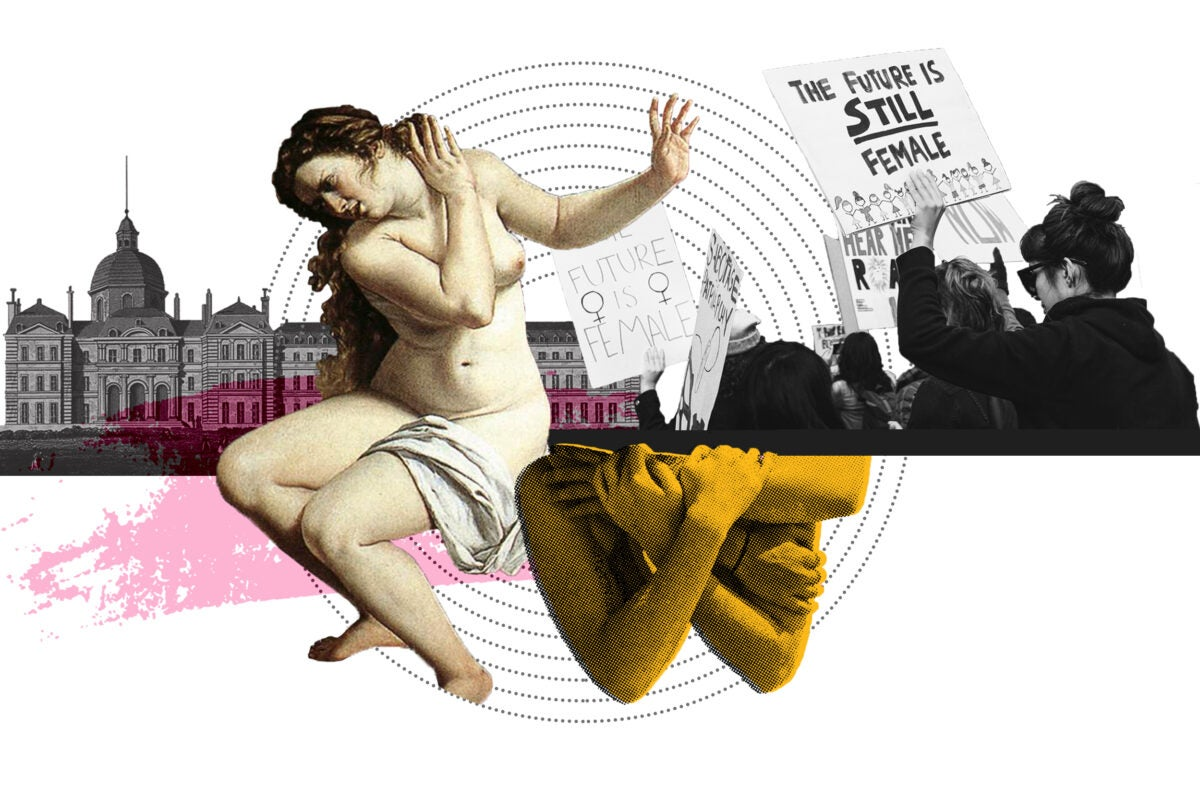 """Collage of Women's March protesters, """"Susanna and the Elders"""" painting, Salpêtrière Hospital in Paris."""