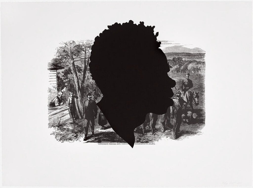 """""""Confederate Prisoners being Conducted from Jonesborough to Atlanta,"""" offset lithograph and screenprint by Kara Walker."""