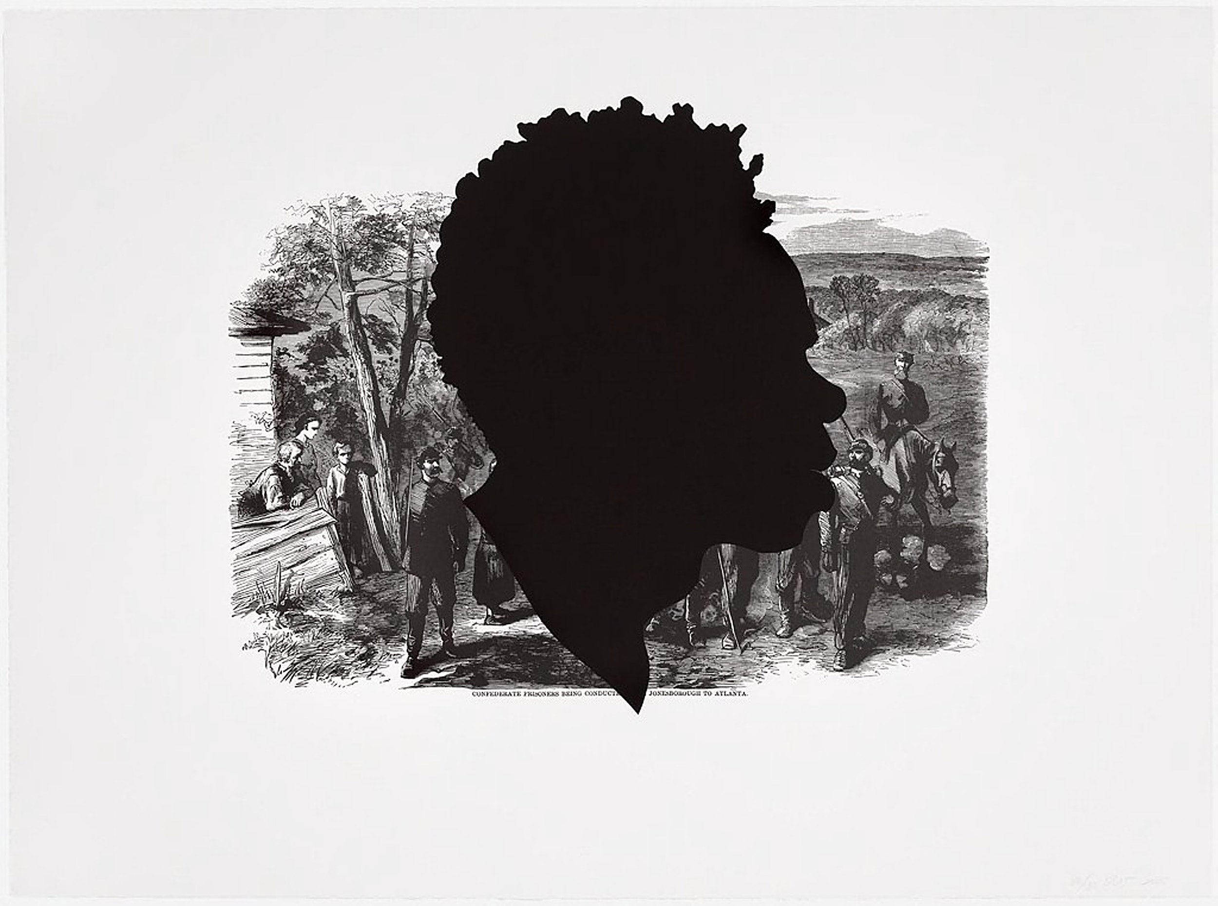 """Confederate Prisoners being Conducted from Jonesborough to Atlanta,"" offset lithograph and screenprint by Kara Walker."