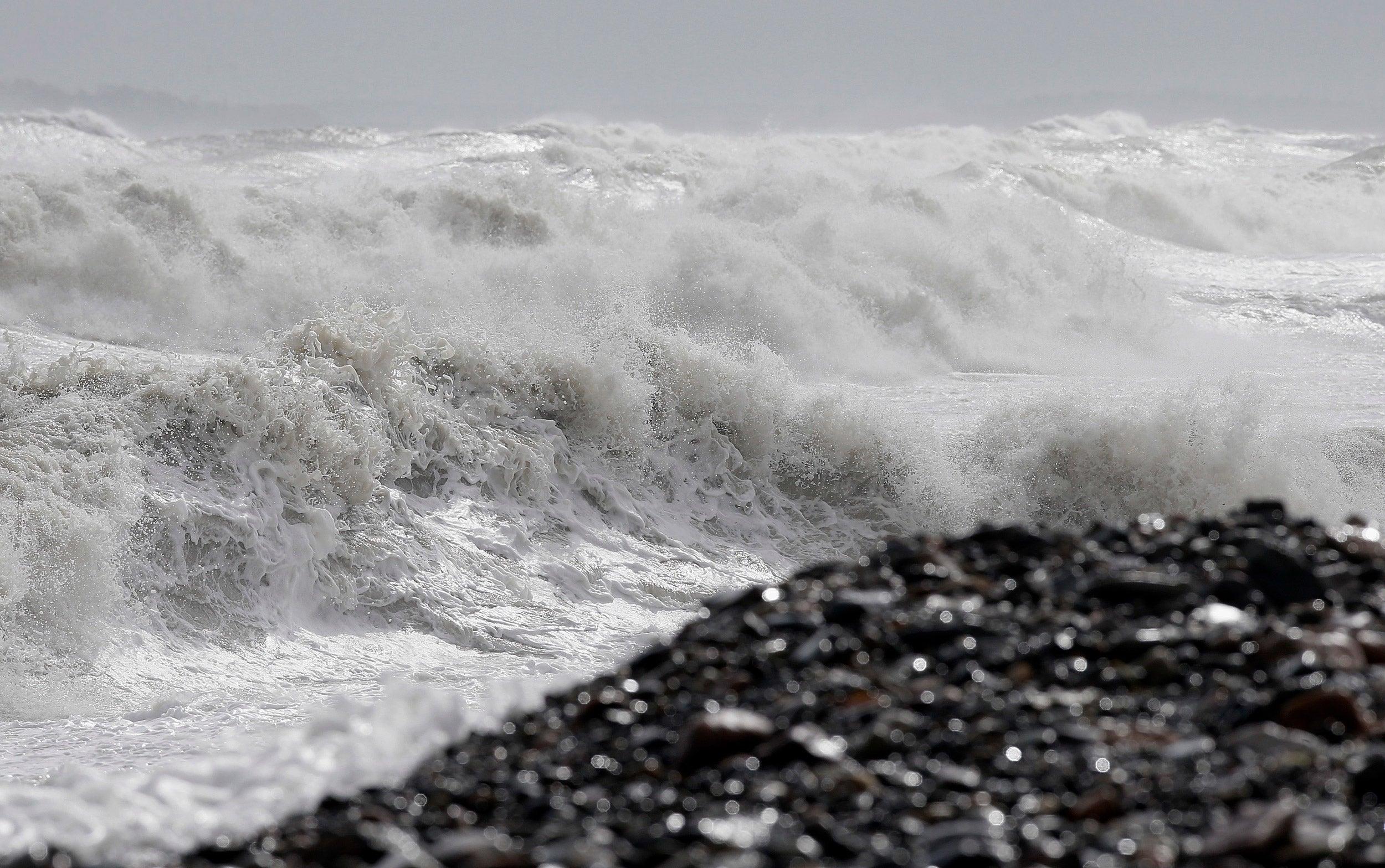 Heavy seas come ashore in Massachusetts.