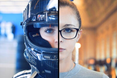 Split screen of Aurora Straus, half, in her racing gear and at Harvard.