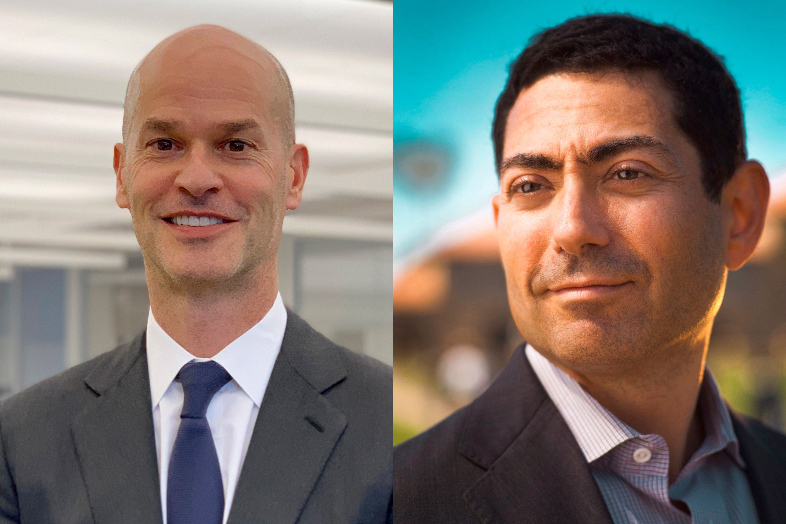 Timothy R. Barakett '87, M.B.A. '93 (left), and Mariano-Florentino (Tino) Cuéllar '93 will assume their roles as the newest members of the Harvard Corporation on July 1.