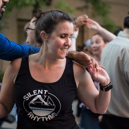 Kerry Thompson dances at Salsa in the Park.