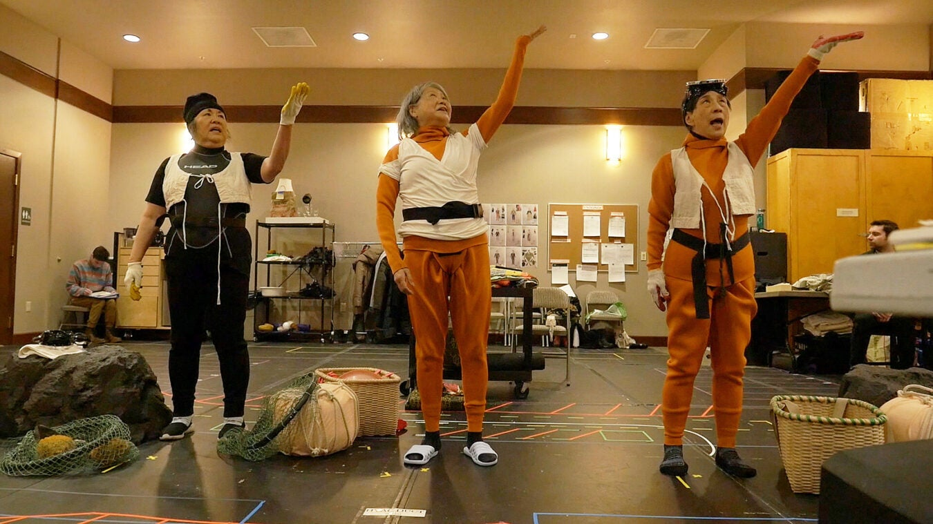 Emily Kuroda, Jo Yang, and Wai Ching Ho in rehearsal for Endlings.