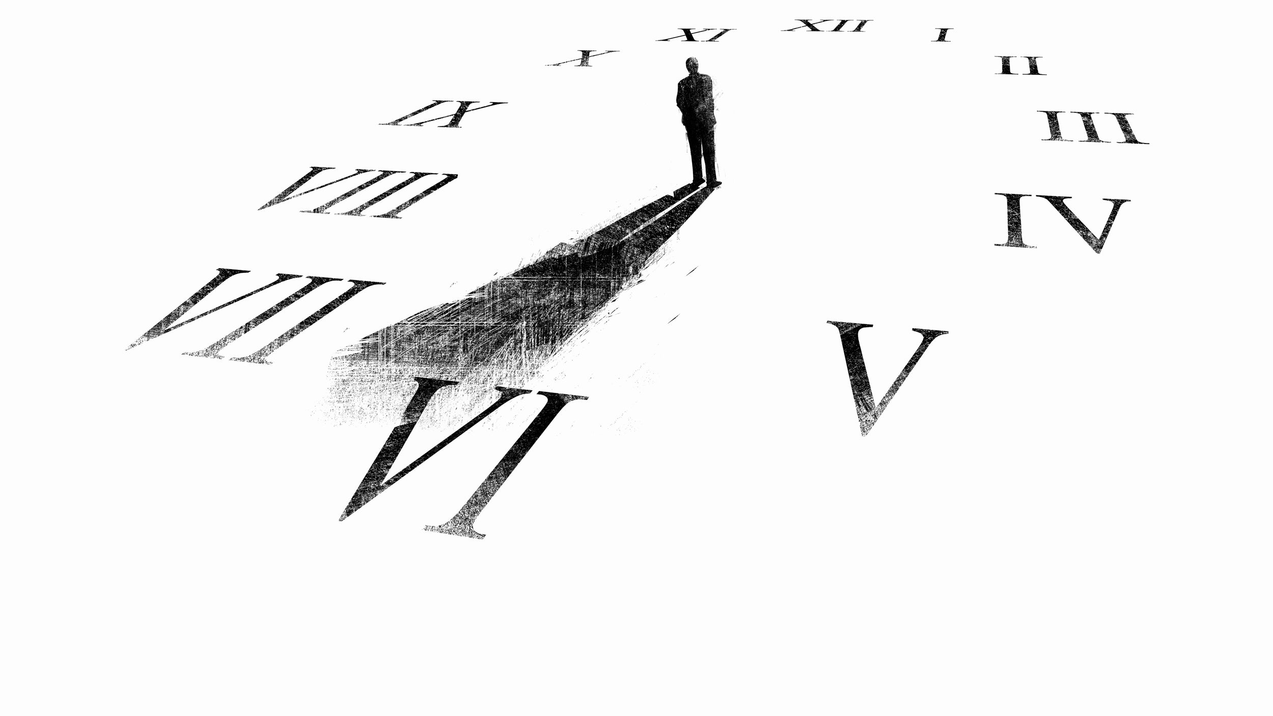 Illustration of man's shadow forming hands on a clock.