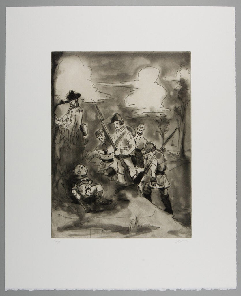 """""""Li'l Patch of Woods,"""" etching and aquatint on chine collé mounted to medium weight, ivory wove paper by Kara Walker."""