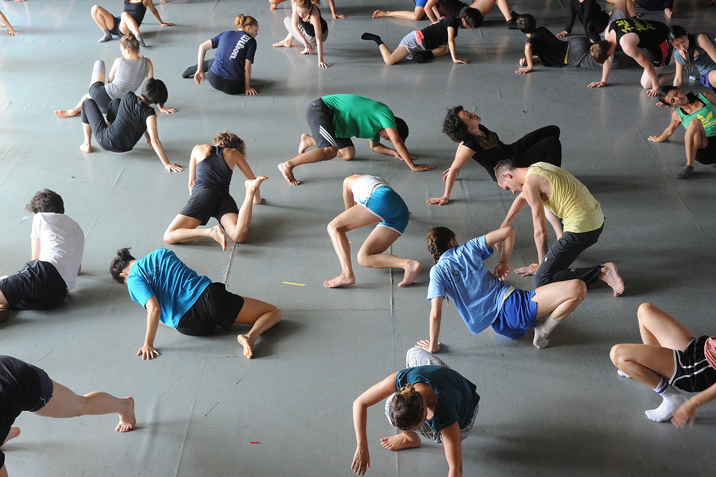 Dancers performing the Gaga dance technique at a class