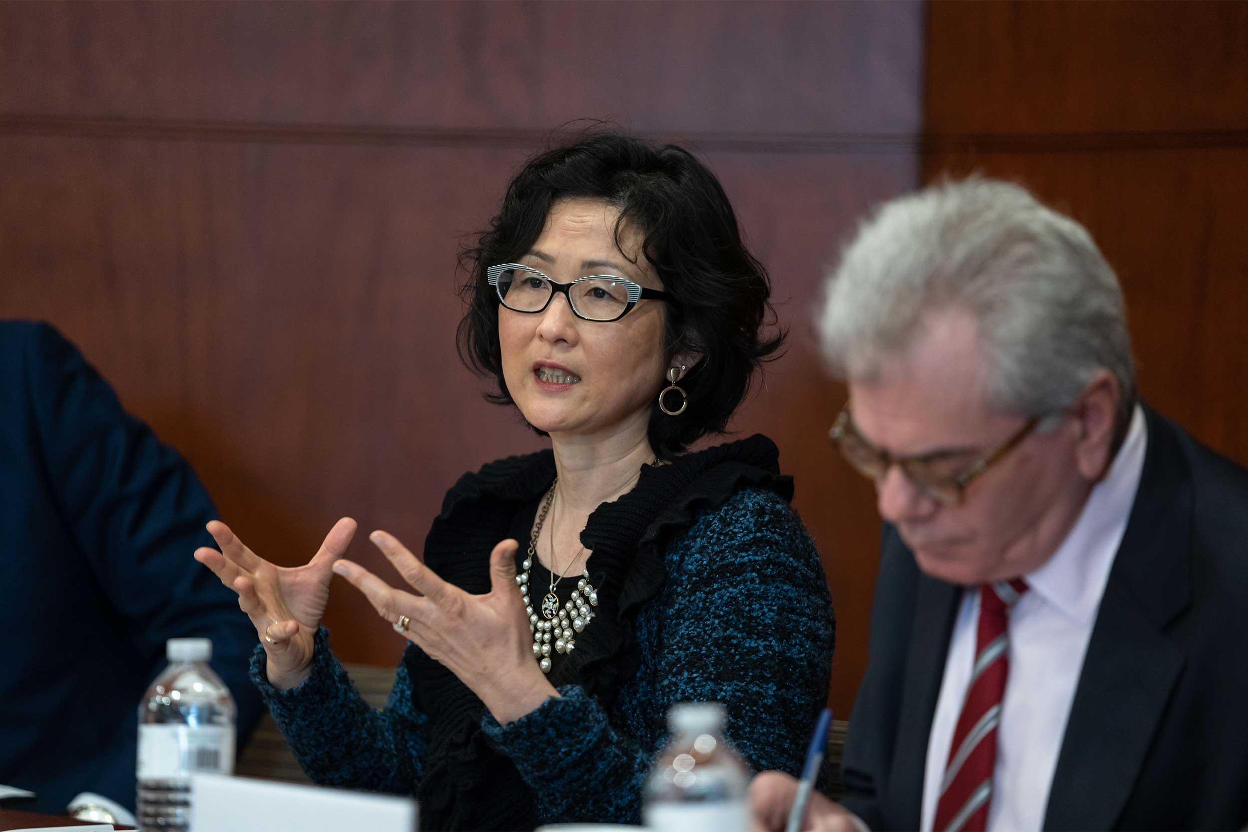 Katharine Moon speaking on a panel