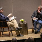 Carl Zimmer, left, and David Quammen in conversation