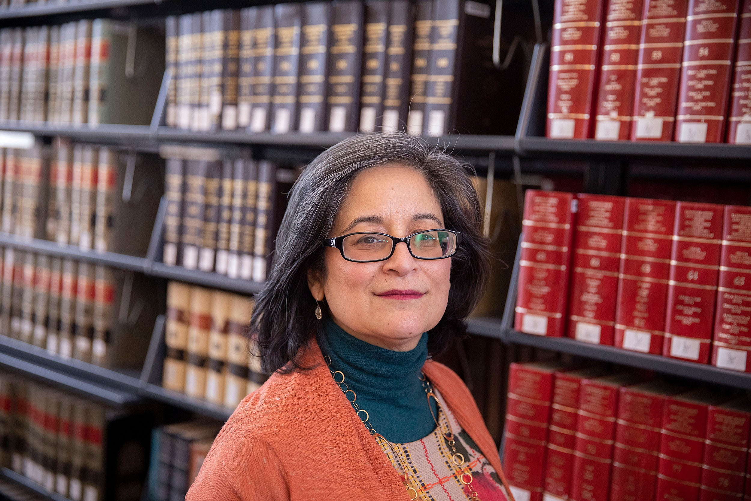 Diane Lopez is seen at Langdell Library.