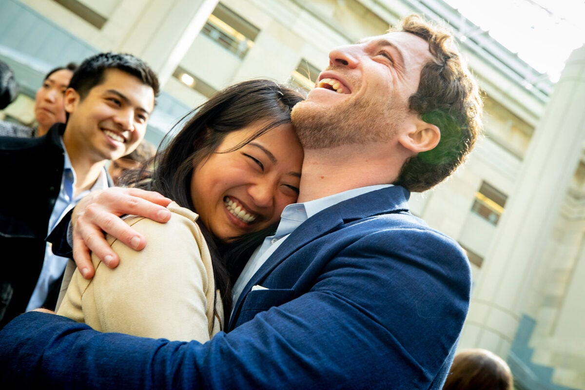 Diana Miao hugs a friend to celebrate residency.