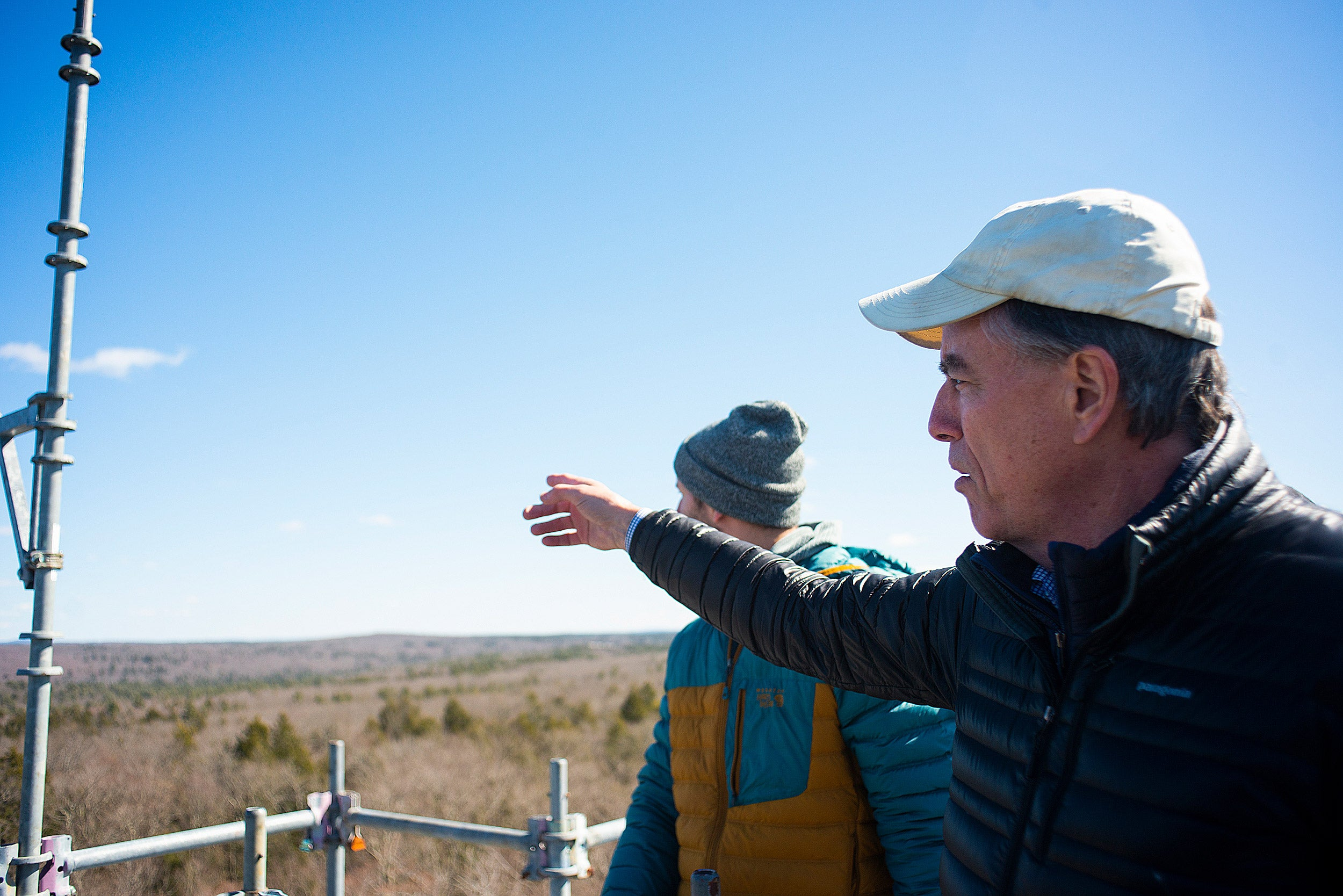 David Foster surveys Harvard Forest from atop a tower.