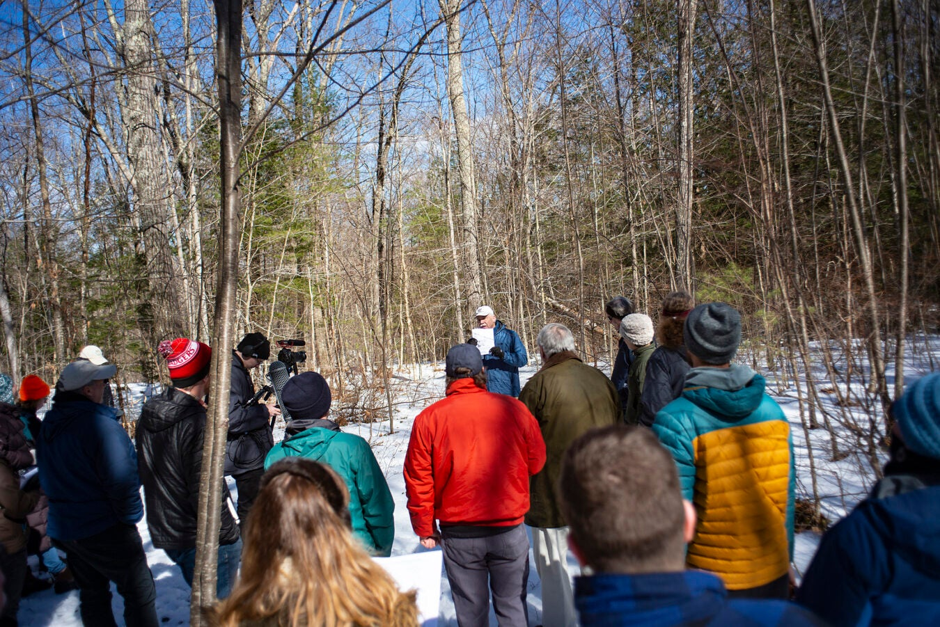 A group tours Harvard Forest.