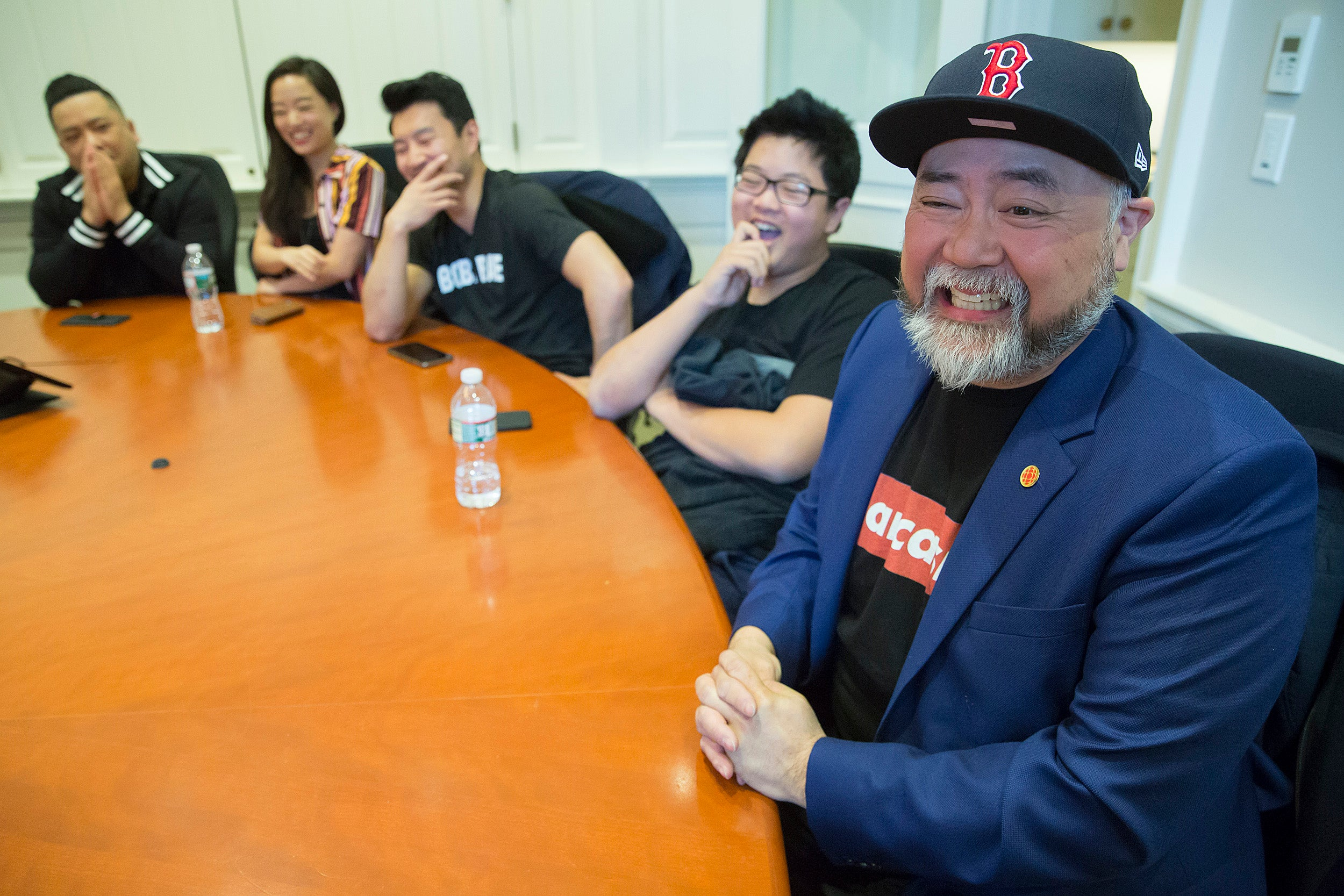"Cast from ""Kim's Convenience"" at Harvard."
