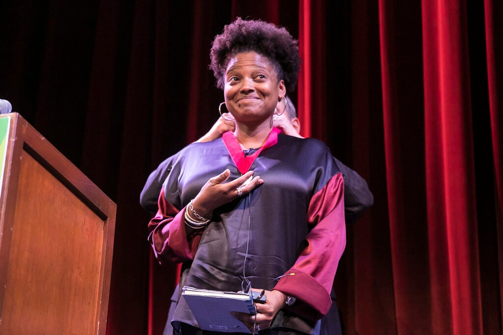 Tracy K. Smith is awarded the Harvard Arts Medal by Larry Bacow