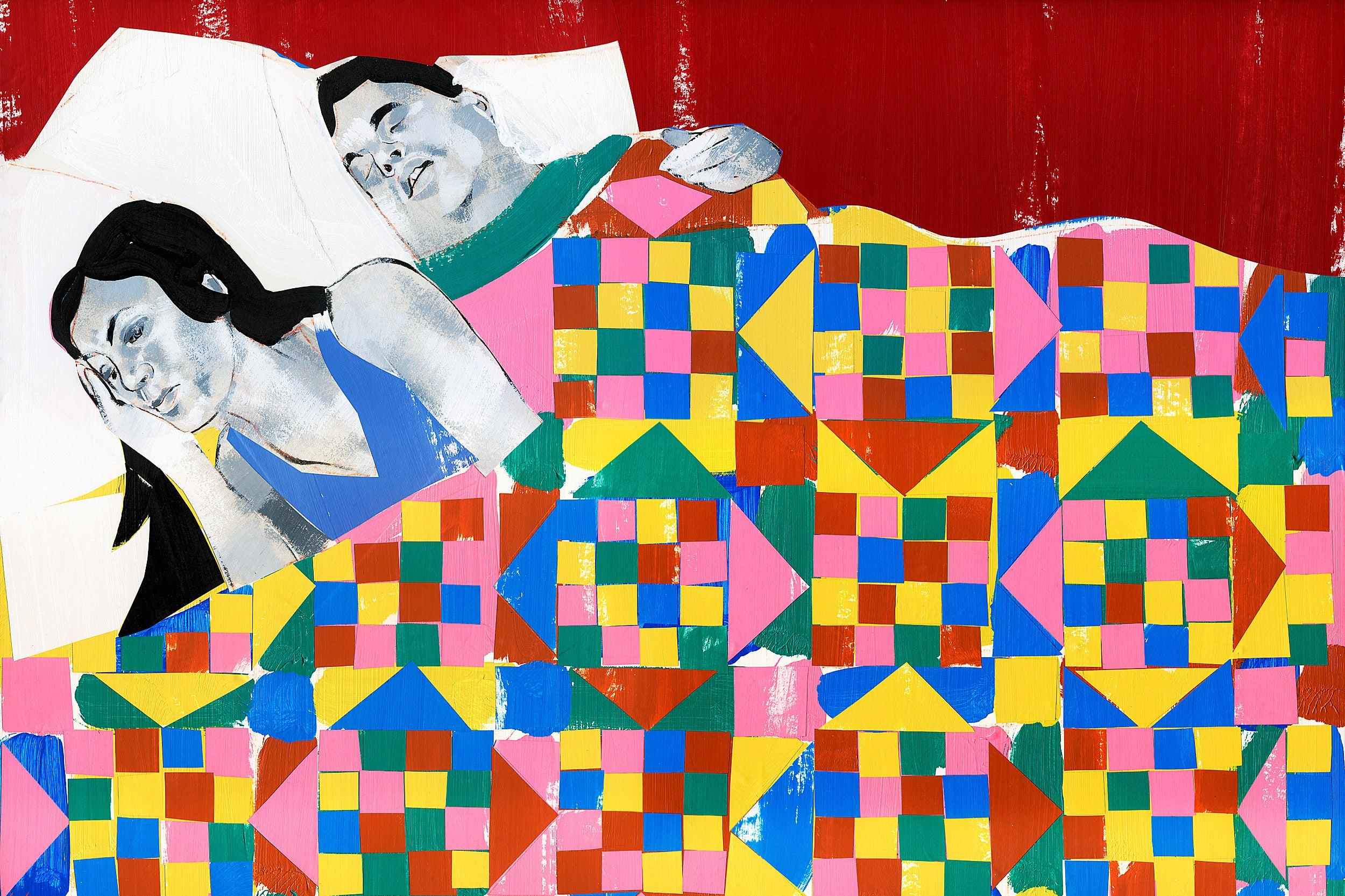 Awake woman laying in bed.