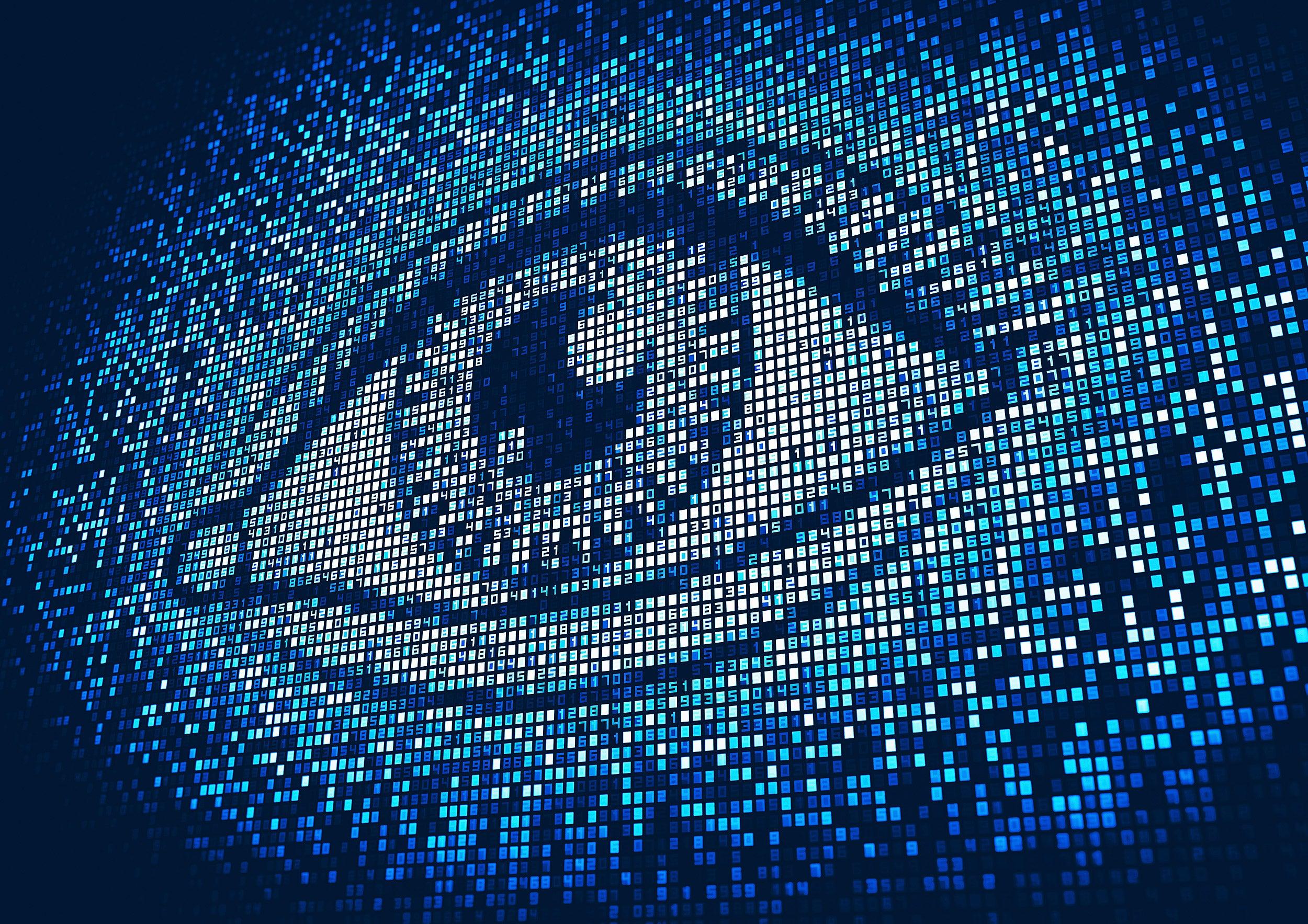 Eye lit up on digital display screen.