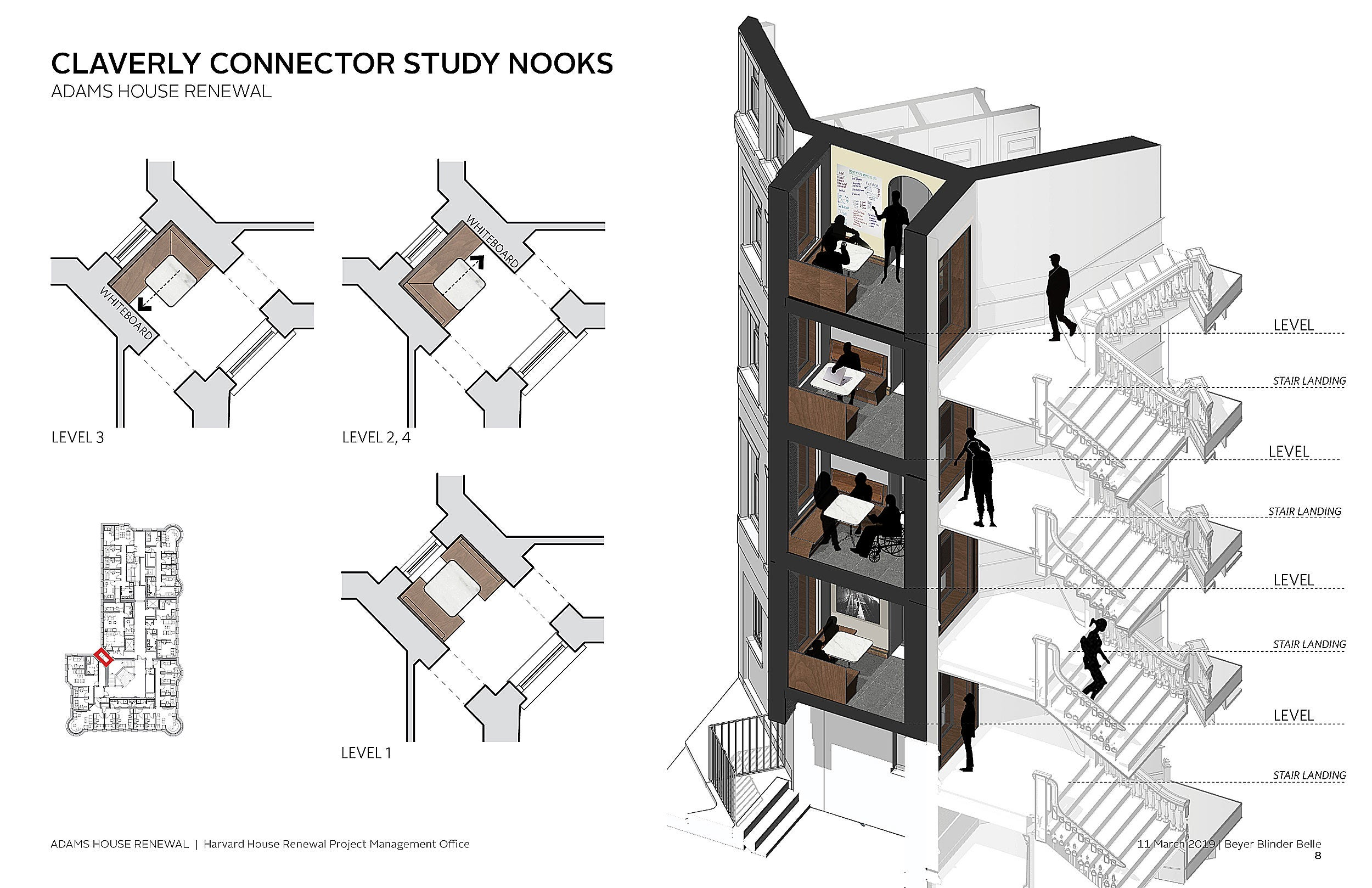 A design layout of study nooks at Adams House.