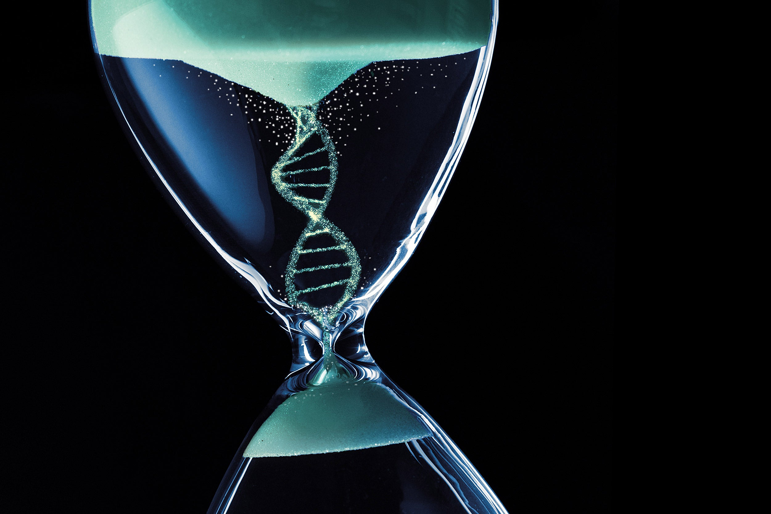 Illustration of sand forming DNA in hourglass.