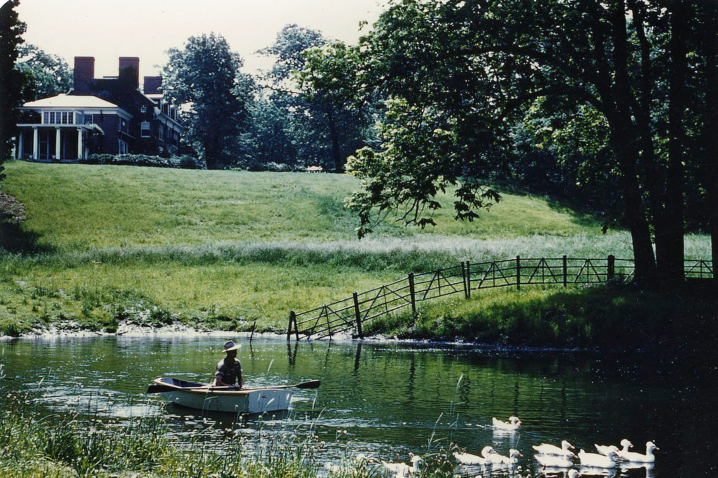 The Bradley Estate with pond and geese, 1953.