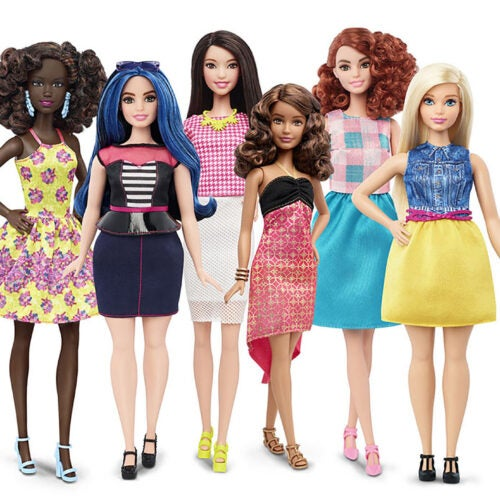 Barbie Dolls showing different body shapes.