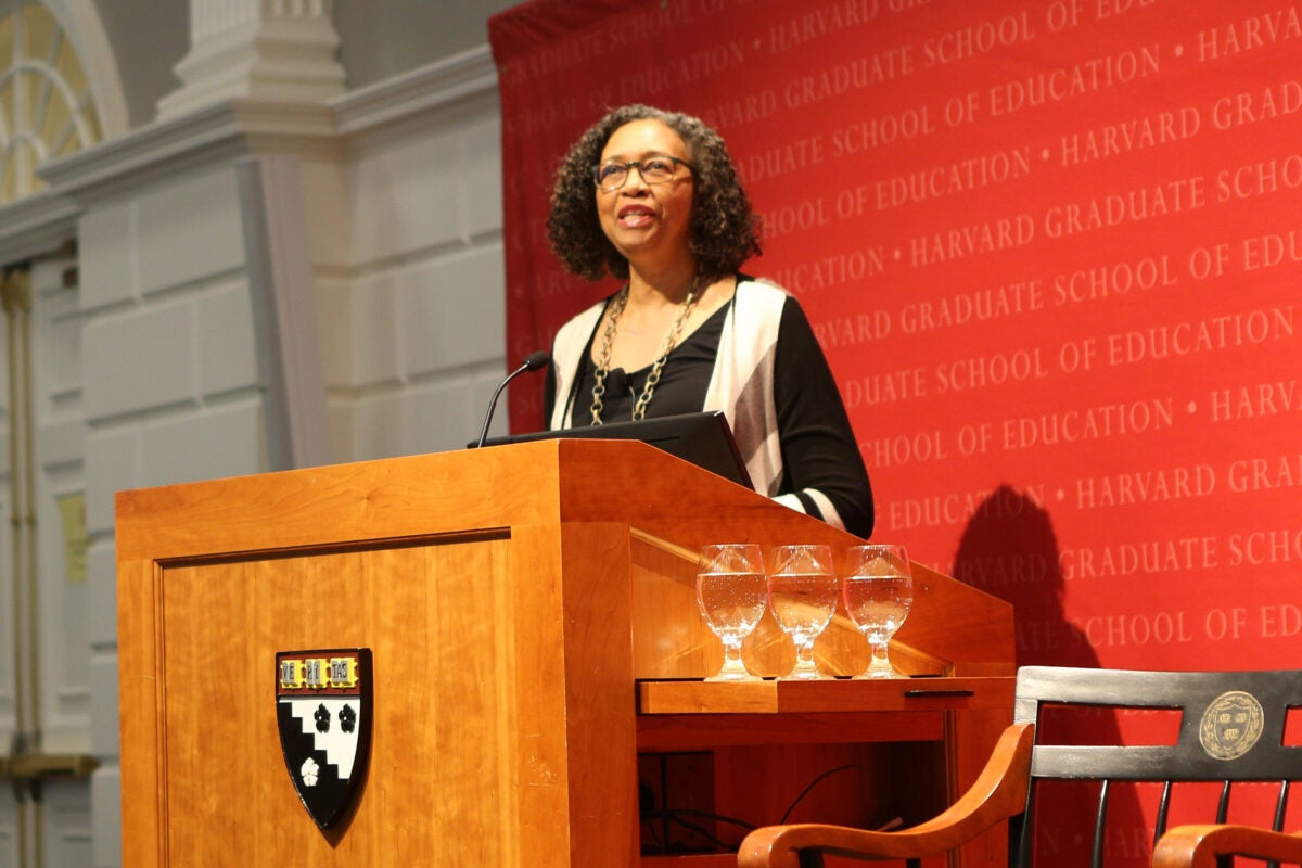 Vaness Siddle Walker speaks in Askwith Hall about the role and importance of black educators.