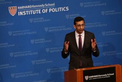 Raj Chetty speaks at the JFK Jr. Forum.