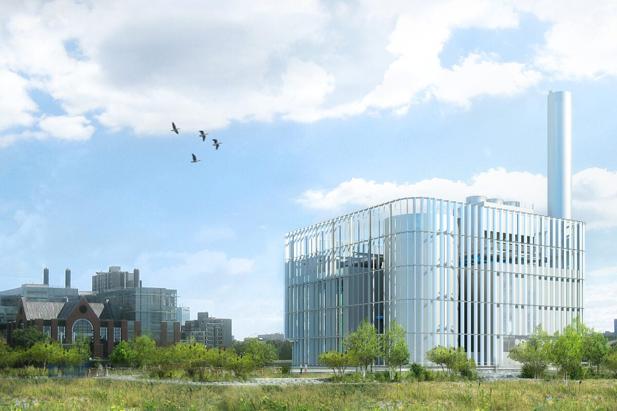 An artist's rendering of a new energy-efficient facility on Harvard's Allston campus, expected to be operational summer 2019.