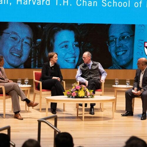 Chan School Dean Michelle Williams, Ophelia Dahl, Paul Farmer and Dean Nitin Nohria