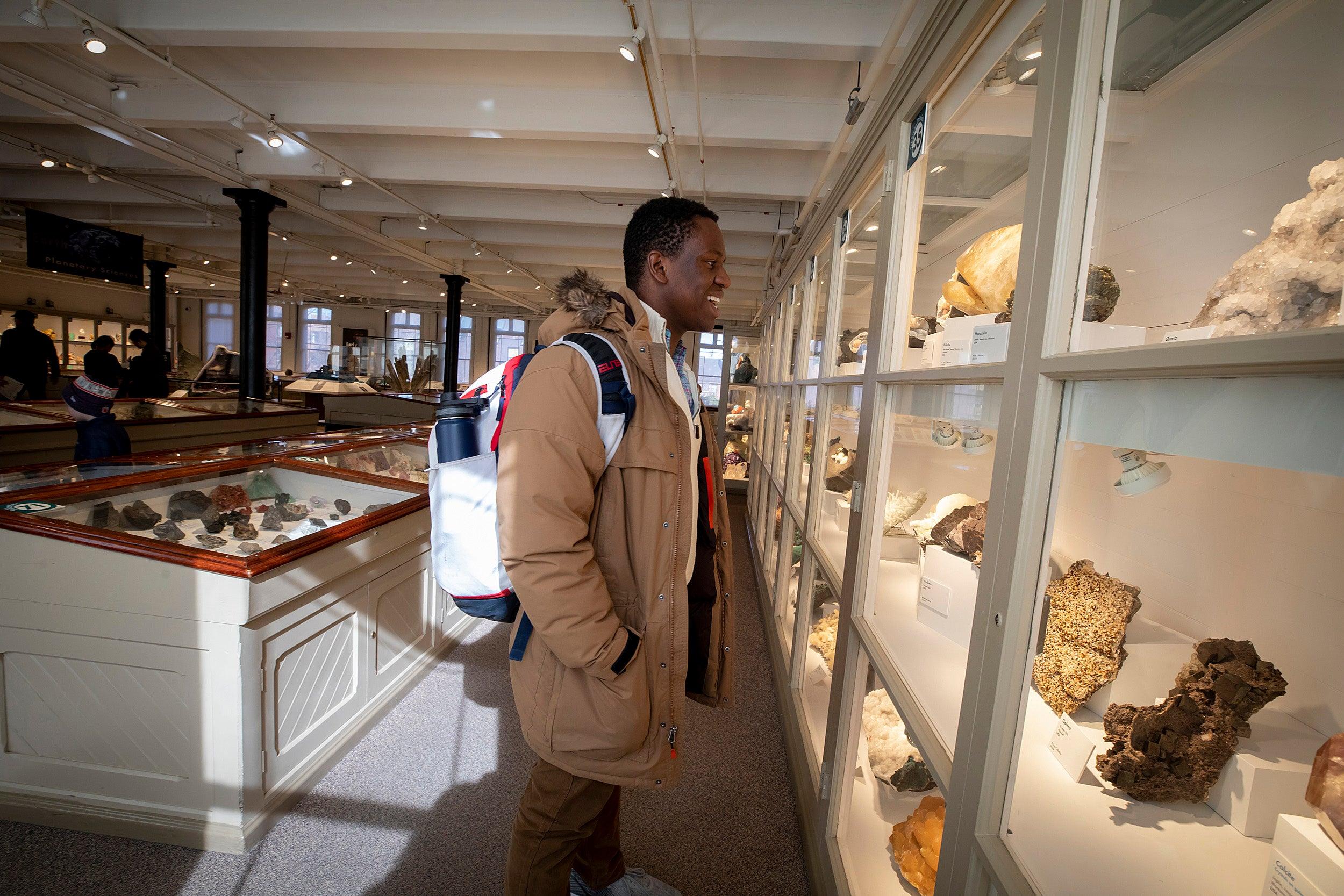 Victor Agbafe at the Harvard Museum of Natural History.