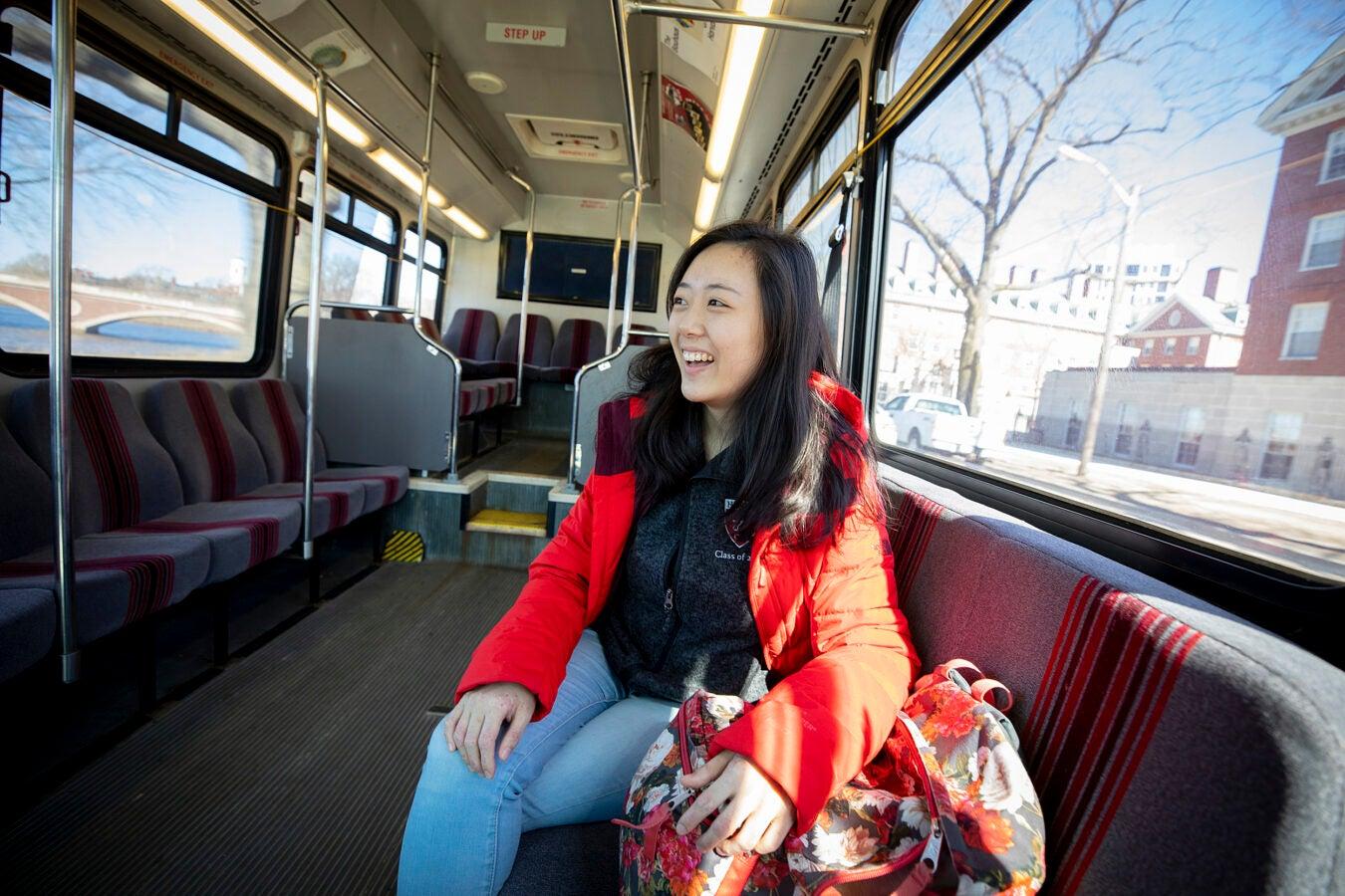 Willa Li rides the Allston shuttle.
