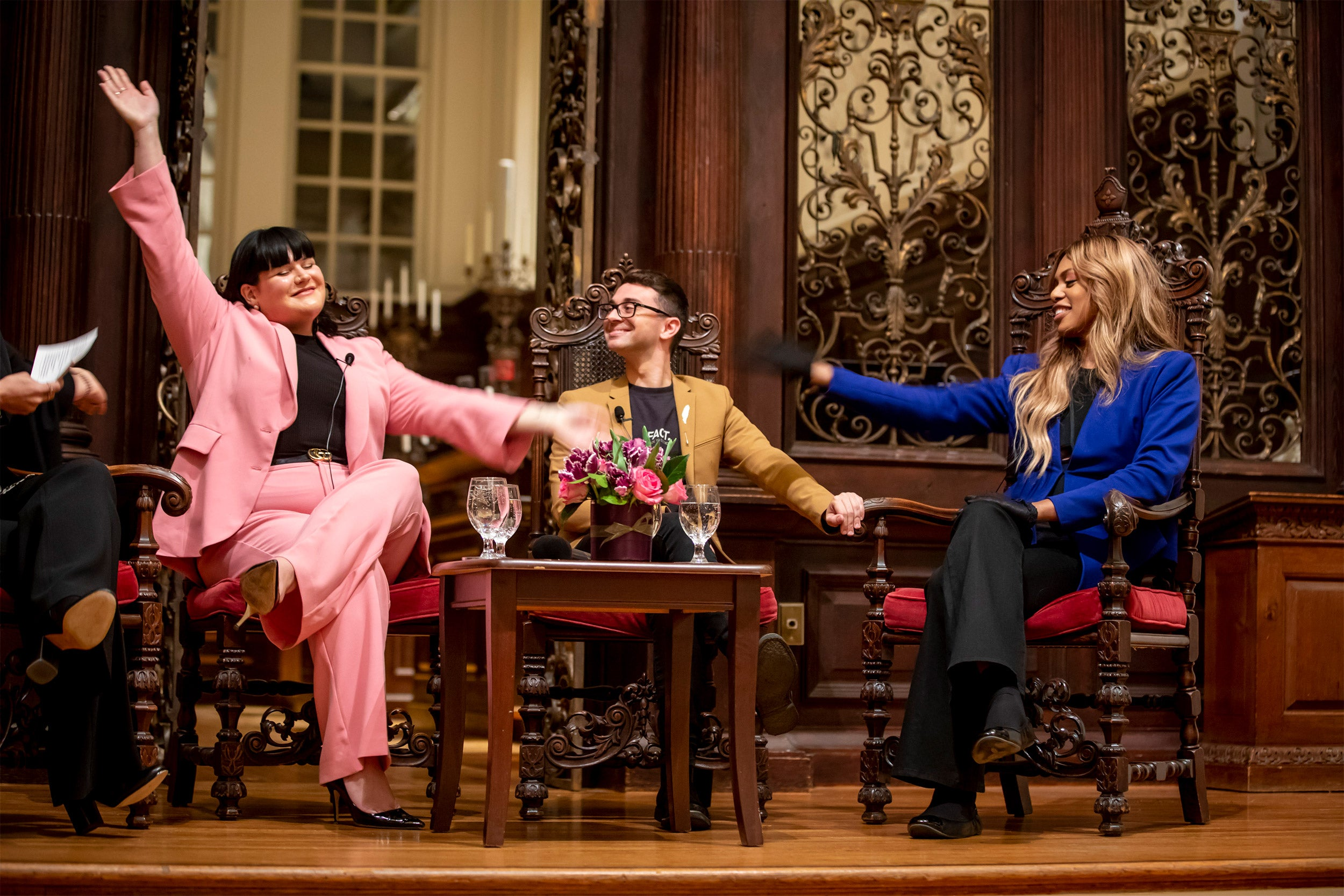 Fashion influencer Nicolette Mason, (from left),; Designer, Christian Siriano, and Actress Laverne Cox