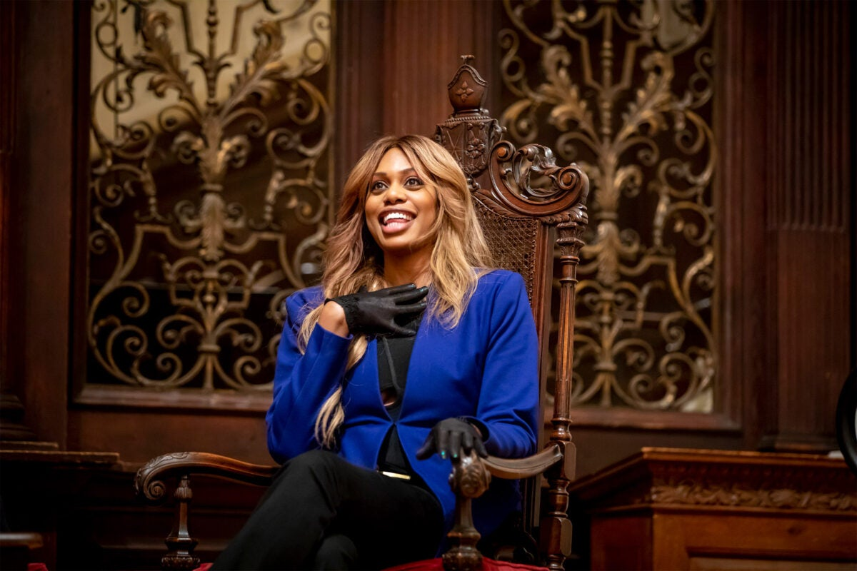 Laverne Cox speaks at a gender conference.