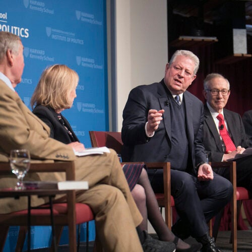 Al Gore (l to r), former Harvard Provost Harvey Fineberg, and Roger Porter, current HKS Professor of Business and Government, share a laugh during a discussion on the presidency in the 21st century. J