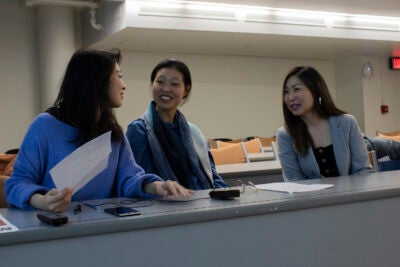 Sohin Hwang (from left), Young Joo Lee, and Margaret Rhee are current Harvard College Fellows in Media Practice.