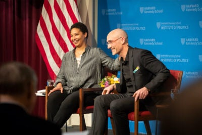 Arthur Brooks talks with University Professor Danielle Allen