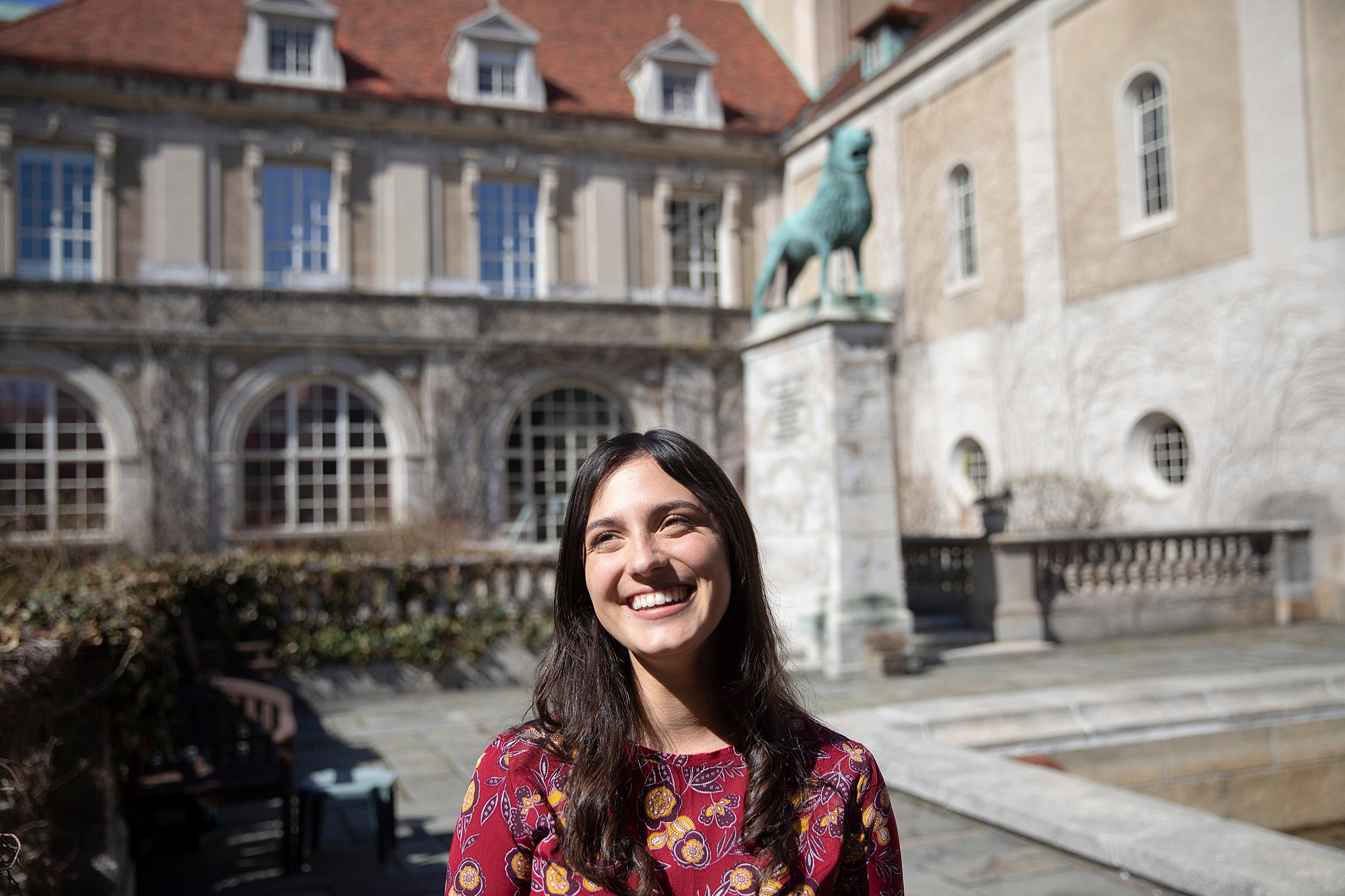 Sara Bobok '19 standing in a courtyard