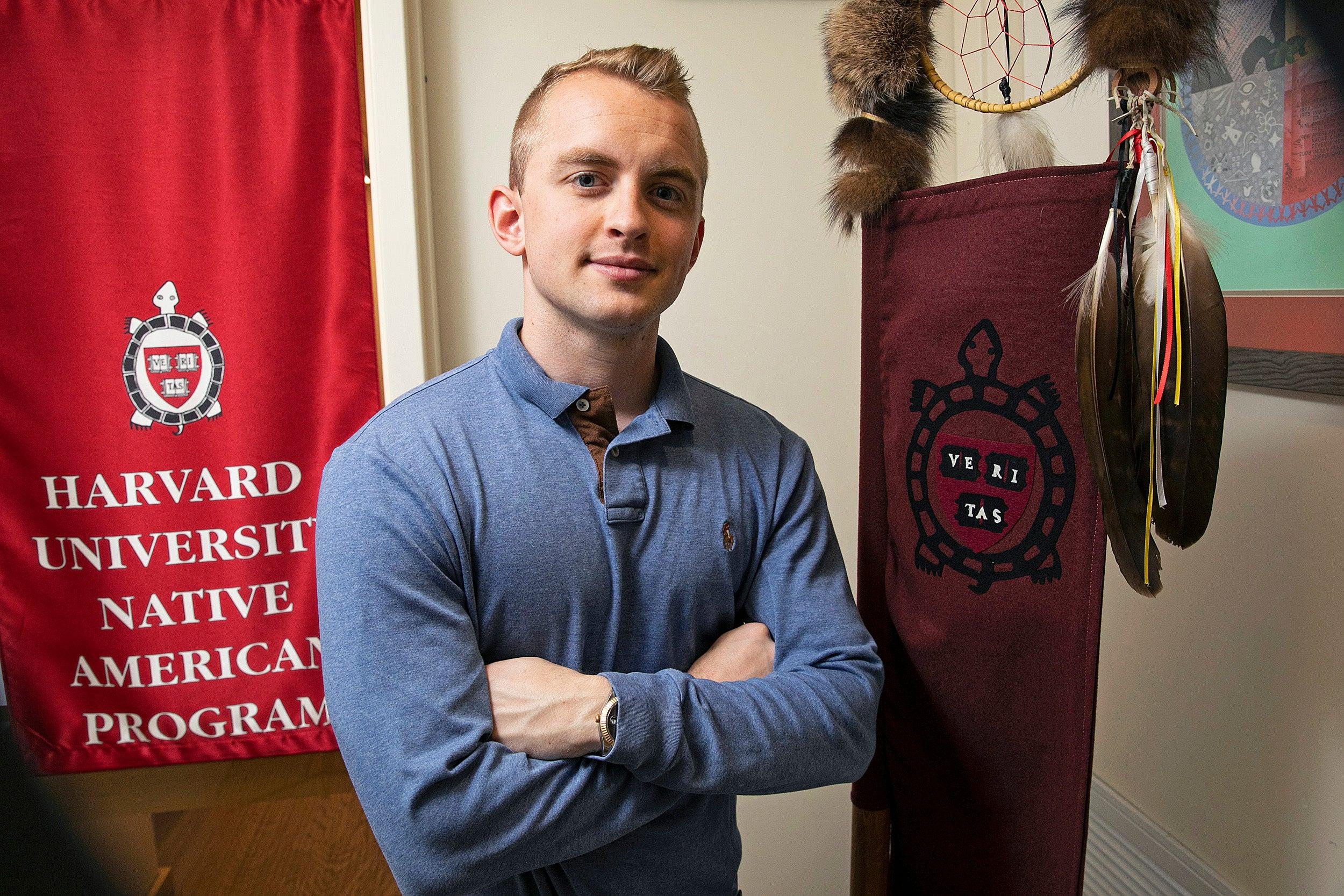 Truman Burrage, Indigenous activist, thrives at Harvard