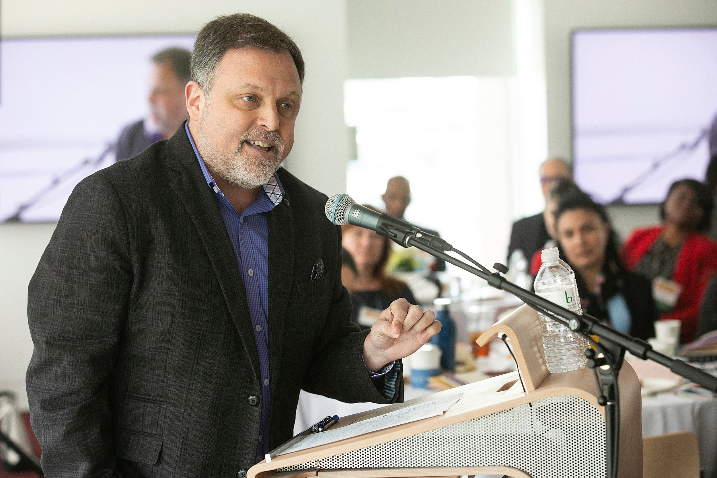 Keynote speaker Tim Wise at the symposium on diversity.