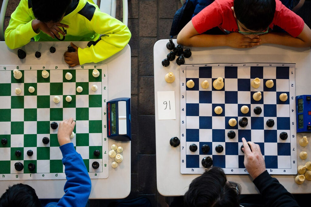 Overview of two chess matches.