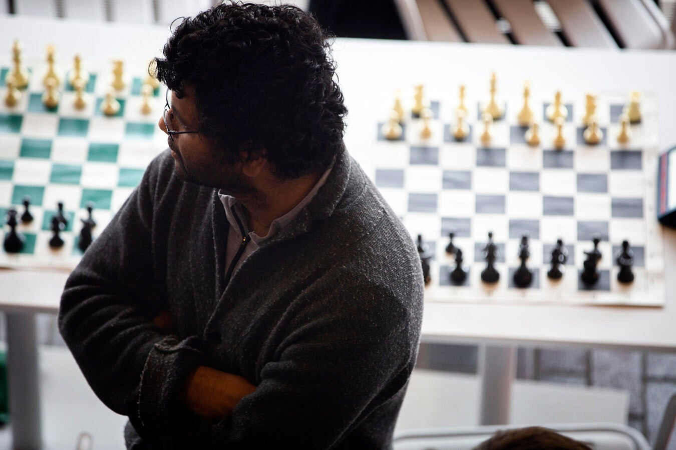 Natesh Pillai takes a break between chess matches.